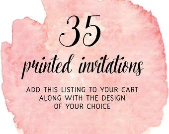 Set of 35 Printed Invitations with Pink Envelopes