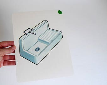 Large Vintage Flash Card of a Sink - 1965 Peabody Language Development