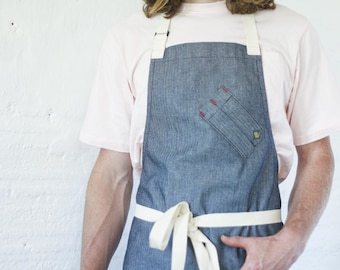 Chef Bib Apron -- Indigo Herringbone