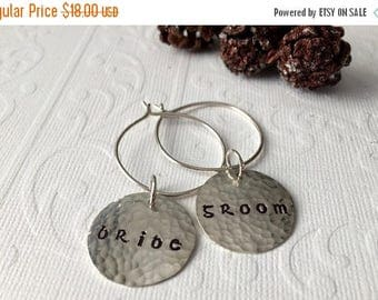 ON SALE Wine CHARMS . Bride & Groom Sterling Silver 2 pc Celtic Set, Wedding Reception Head Table, Bridal Shower Gift, Champagne Toast, Brid