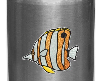 """CLR:WB - Tropical Fish - Copperband Butterflyfish - Stained Glass Style Vinyl Water Bottle Decal - © 2016 YYDCo. (SM 3""""w x 2.5""""h)"""