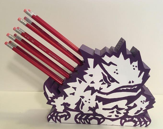 Handcrafted Wooden TCU Horned Frog Pencil Holder Office Decor Teacher Gift TCU office decor