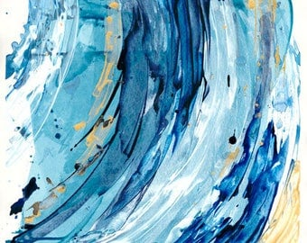Abstract Original Painting, Blue and Gold Artwork, Unique Wall Art, Home Decor, 18 x 24 Large Modern Art by Heidi Christensen for Home