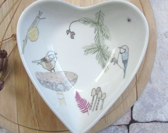 Heart trinket dish - Garden bird Dish - Wedding gift - Jewellery dish -Bone China Dish -China Trinket Dish - Anniversary gift- Heart Bowl