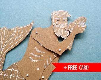 Articulated paper doll Merman Christmas gift Xmas present handmade greeting card girlfriend gift birthday present mermaid boyfriend gift