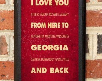 Georgia GA I Love You From Here And Back Wall Art Sign Plaque Gift Present Personalized Custom Color Home Decor Vintage Style Classic