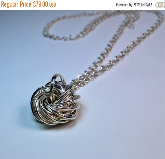 ON SALE Love Knot Necklace - Sterling Silver - Handmade Chain