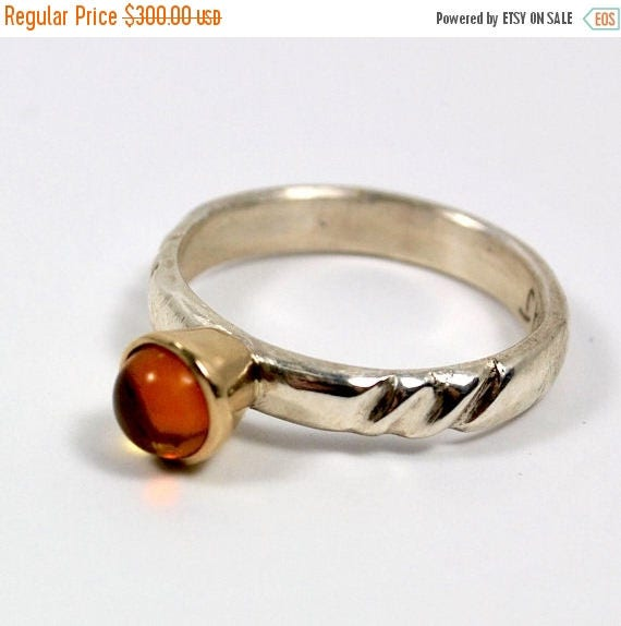 ON SALE Engagement Ring - 18K Gold and Sterling Silver Ring - Hand Carved Ring - Amber Gemstone Ring
