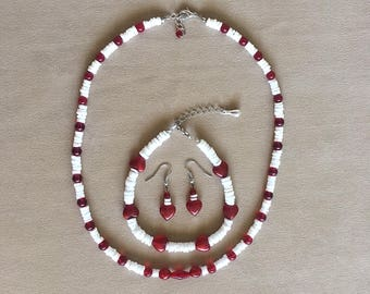 Hearts & Puka Shells Jewelry Set, Necklace Earrings Ankle Bracelet Set, Hawaiian Shell Jewelry, Tropical Jewelry, Retro Beach/Surfer Jewelry