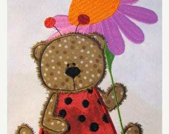 ON SALE Ladybug Bear 04 Machine Applique Embroidery Design - 4x4, 5x7 & 6x8
