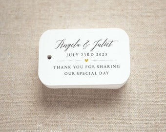 Thank You For Sharing Our Special Day Personalized Gift Tags ,Wedding Favor Tags ,Thank you tags - Set of 24 (Item code: J718)