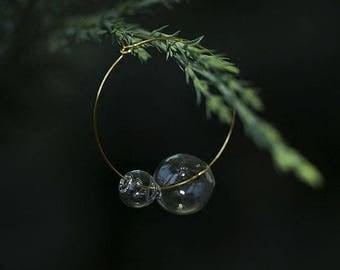Gold Hoops Earrings, Big Wire Earrings, Simple Hoop Earrings, Large Hoop Earrings, Glass terrarium earrings,Transparent glass earrings