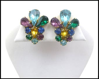 Czech Multi Color Rhinestone Earrings, Aqua Green Royal Blue Purple Gold Earrings, Workday Bling Bridesmaid Maid of Honor Gift For Her