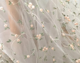Flroal Embroidery Tulle Lace Fabric with Light Green Pink Leaf Pattern , Ivory Tulle Bridal Baby Dress Lace Fabric