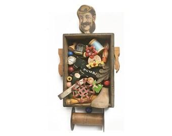 the PICKER, flea market finds, original mixed media assemblage, found object art, vintage collector, by Elizabeth Rosen