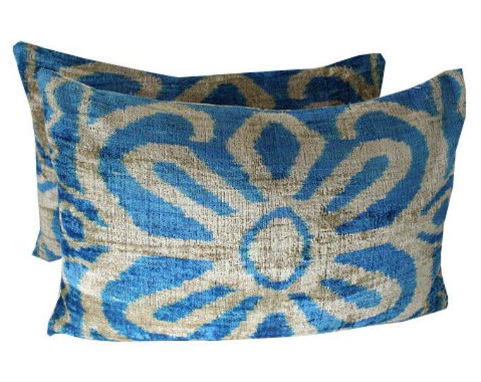 Set of 2 Silk Velvet Ikat Pillow Covers Lp409s, Bohemian pillow, Velvet Ikat Pillow, Velvet Pillow, Velvet Pillow Cover, Ikat Pillows