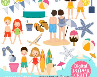 Seaside Clipart, Children Clipart, Kids Clipart, Summer clipart, Beach  clipart, Clipart, Handrawn Clipart, Pool Party clipart,