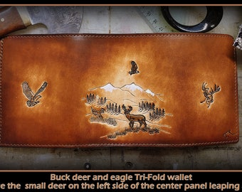 Deer and Eagles, Brown Leather Men's Tri Fold Wallet, men's birthday, third anniversary, great guys gift with FREE 6 page credit card holder