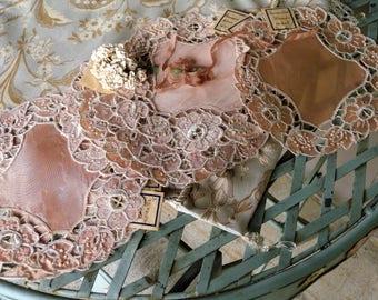 Vintage Hand Embroidered  ~ Vintage German Salmon Colored Floral Doilys // Home Decor// Vintage Hand Work