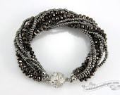 Pewter Multi strand Crystal bracelet pewter beaded jewelry multi strand bracelet gray crystal bracelet sparkly evening bracelet gift for her