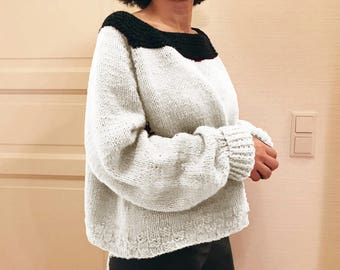 oversized 100% wool hand knitted sweater off-white , charcoal