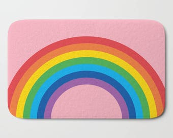 Bath Mat, 4 Background Colours, Rainbow Arch Bath Mat, Shower Mat, Soft, Memory Foam Bath Mat, Candy Pink Shower Rug, Soft Bath Mat