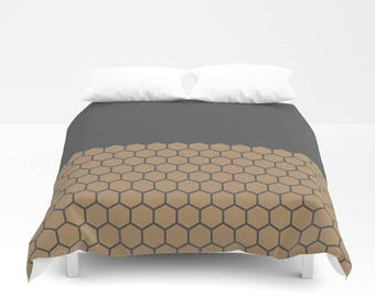 10 colours, Iced Coffee, Hexagon Honeycomb Half Pattern Duvet Cover, Brown, Minimalist duvet, double duvet, king size, queen duvet cover