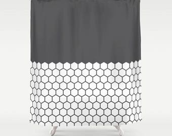 10 colours, Hexagon Honeycomb Half Pattern Shower Curtain, minimalist geometric bathroom shower curtains, charcoal black and white decor