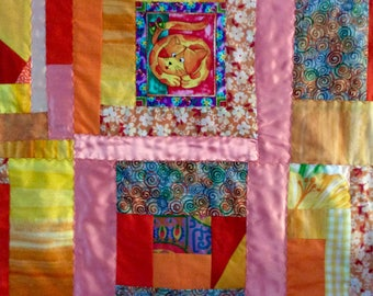 "Crazy Quilt Quilt - Orange  couch throw - 55 1/2"" x 40 1/2"" - handmade original - gift idea"