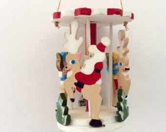 Emgee Ornament - Santa On a Carousel -  Hawaii made Christmas Ornament - vintage - Gift idea - hand painted ornament - collectible