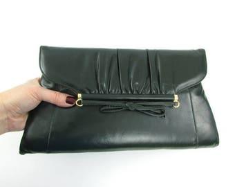 SALE Hunter Green Bow Clutch Purse - Vintage 1980s NOS Shoulder Bag in Dark Green by Mastercraft