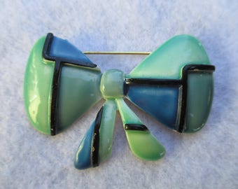 Vintage Pin Brooch Signed HAR 1960's Plaid Bow Enameled Blue and Green MOD Look