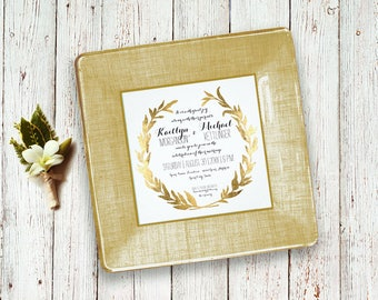 Wreath wedding invitation keepsake decoupage plate match your colors unique wedding gift idea for couple for parents first anniversary gift