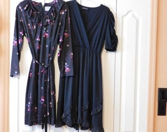 2 Pretty Vintage Dresses - One looks like a Rockabilly Dress (Black) the other is a pretty print.