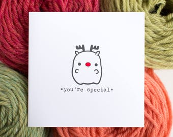 small holiday card - Rudolph the red nosed reindeer