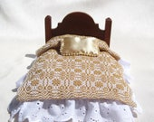 Dollhouse Coverlet 12th Scale Blanket Handwoven Coverlet Gold Whig Rose Coverlet 12th Scale Dollhouse Bedding Small Doll Gold Bedding