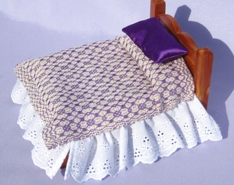Dollhouse Purple Coverlet Miniature Bed Blanket Handwoven Coverlet Purple Marigold Blanket 12th Scale Dollhouse Bedding Small Doll Bedding