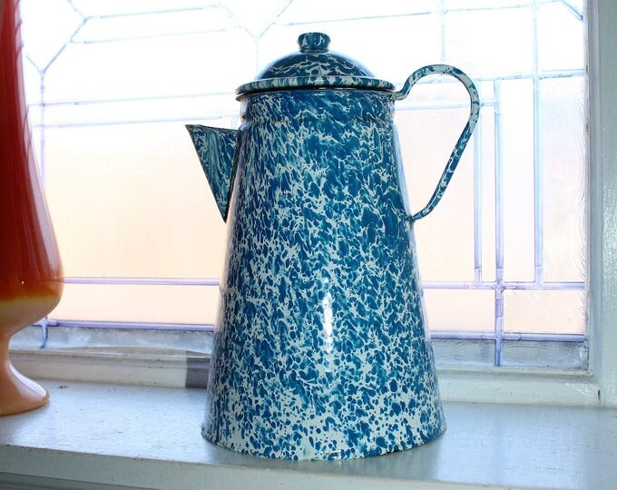 Graniteware Coffee Pot Blue and White Enamelware Antique Farmhouse Decor