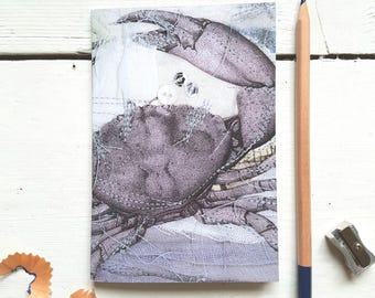 Crab notebook/made in Cornwall/ocean notebook/nautical decor/nautical stationary/octopus/crab print/seaside/blue notebook/Cornish notebook