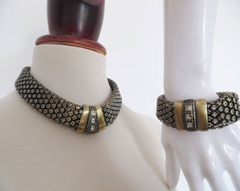 SALE :)) EGYPTIAN MODERNIST . Art Deco Vintage Necklace Bracelet Set Antique Gold Chunky Statement Unusual Edwardian Victorian