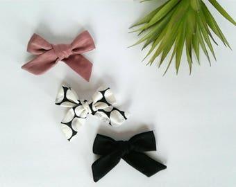 Set of three headbands nylon modern black white polka dots dusty rose blush pink vintage clip