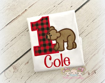 Brown bear birthday shirt- woodlands bear birthday shirt -buffalo plaid bear - 1st birthday personalized brown bear themed shirt for boys