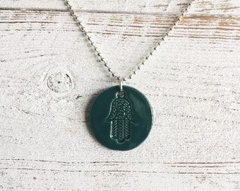 Ceramic Hamsa Pendant, Teal Green, Unique Gift, Hamsa, Protection, Gift for Her, Peace, Ceramic Jewelry, Hamsa Jewelry