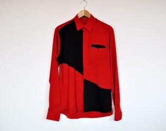 Vintage Red and Black Colorblock Ocersized Shirt Jacket
