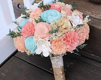 Ready to ship! Handmade Wedding Bouquet- Peach Aqua Light Teal Ivory Nude Champage, Bridal Bridesmaid Bouquet, Alternative Bouquet, Sola
