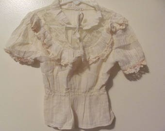Adorable Vintage Baby Girls Boho Lacey Ivory Top