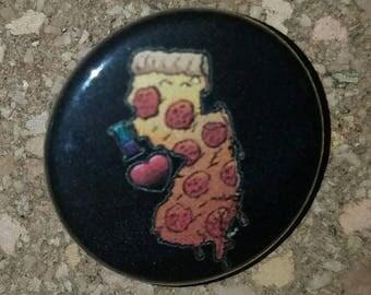 "New Jersey Pizza 1"" Pin, Pinback  Button, Black"
