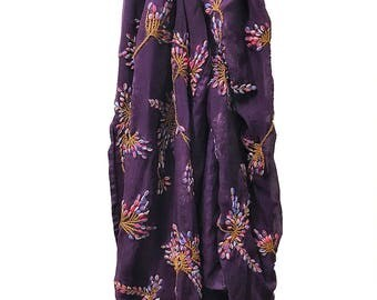 Vintage 100% Italian Silk Long Scarf Hand Stitched Embroidered Floral Purple