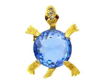 Vintage Rhinestone Jelly Belly Turtle Brooch // Figural Animal Novelty Pin // Blue Faceted Rhinestone Goldtone Tortoise Red Rhinestone Eyes