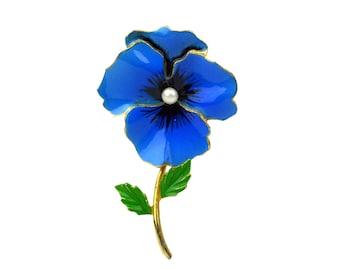 Vintage Blue Pansy Brooch // 1960's Figural Violet Flower // Blue Enamel, Prong Set Faux Pearl, Goldtone Metal // Spring Green Leaves